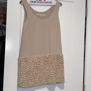 Mini dress with faux fur detailing
